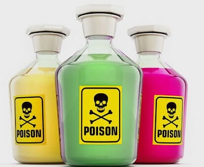 Bouteilles de poison illustrant les effets secondaires de l'utilisation de produits nocifs dans une construction typique